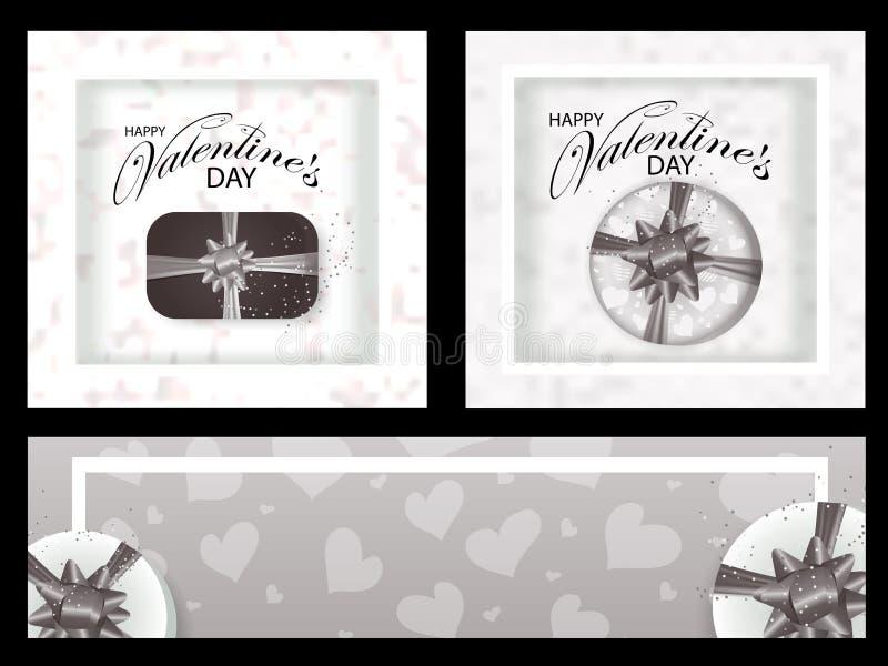 Os fundos e as bandeiras monocromáticos ajustados para o dia de Valentim decoraram corações e caixas com curvas Vetor ilustração royalty free