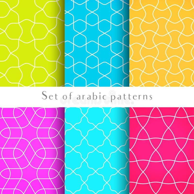 Os fundos sem emenda no estilo árabe feito de gravam formas geométricas Teste padrão tradicional islâmico ilustração stock