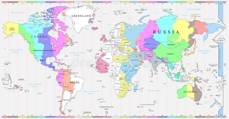 Os fusos horários do mundo traçam, e mapa político do mundo ilustração stock