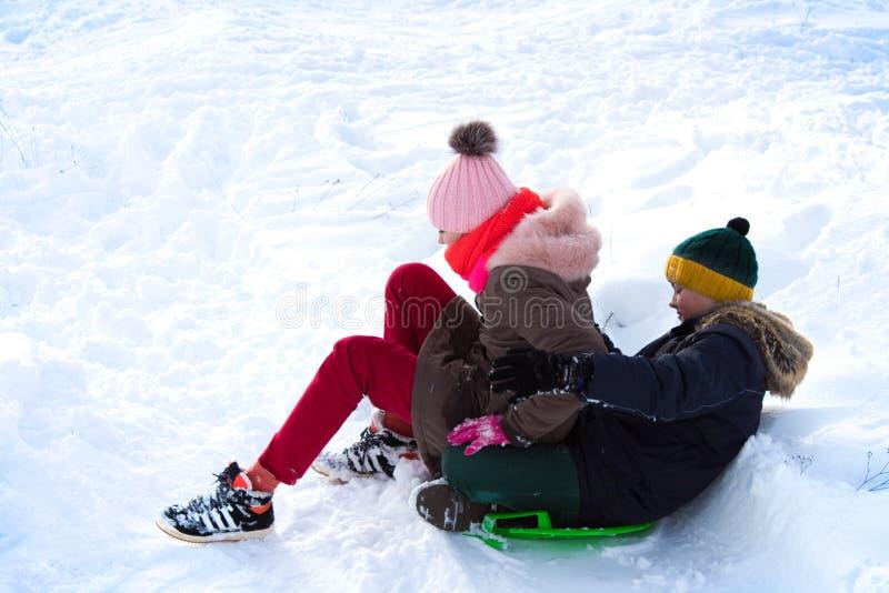 os gêmeos deslizam para baixo uma corrediça do inverno imagem de stock