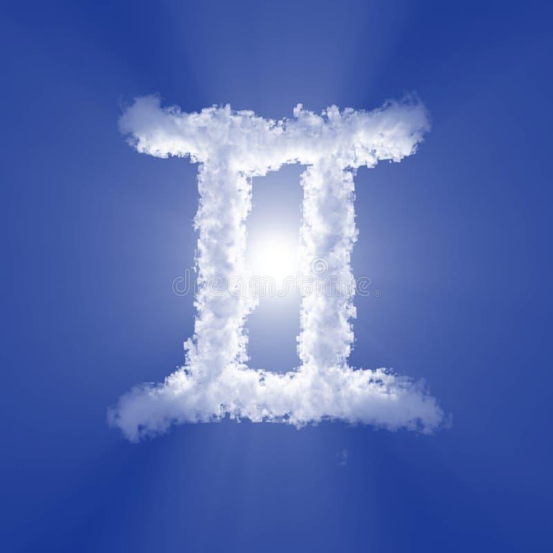 Os Gêmeos nublam-se o sinal do zodíaco com luz do volume no céu azul e no sol ilustra??o 3D ilustração do vetor
