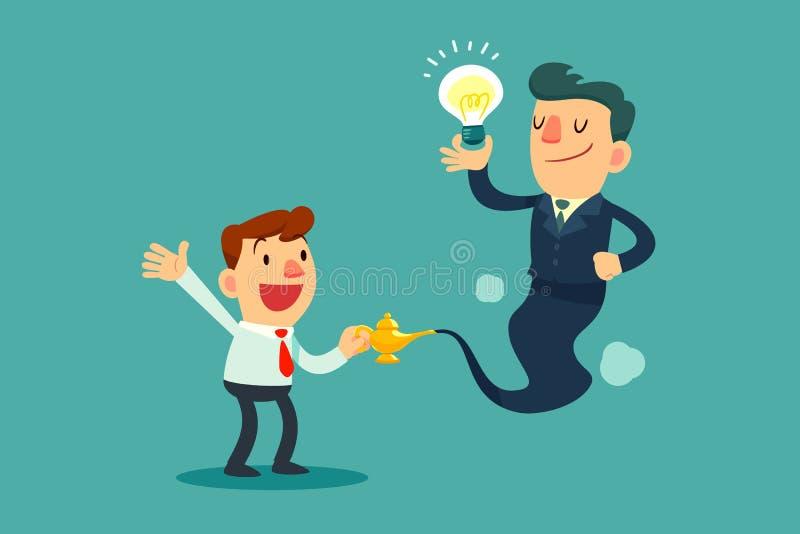 Os gênios do homem de negócios com bulbo da ideia saem da lâmpada mágica ilustração stock