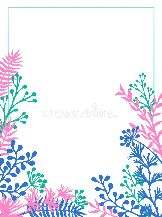 Os galhos ervais e os ramos limitam o cartão do convite do vetor ilustração do vetor