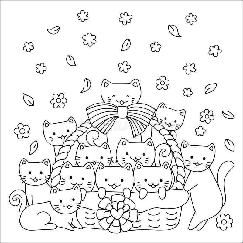 Os gatinhos bonitos na cesta projetam para o T, cartões, convites e a página impressos do livro para colorir para crianças Ilustr ilustração stock