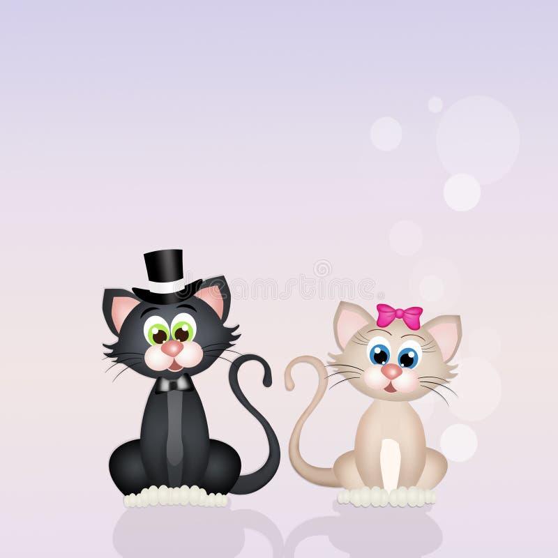 Os gatos acoplam-se no amor ilustração do vetor