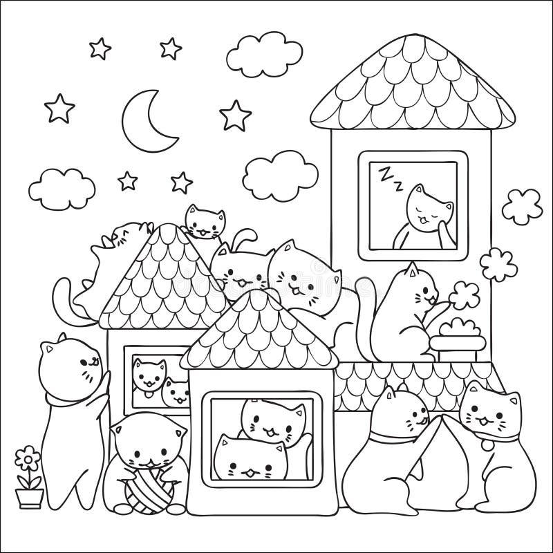 Os gatos bonitos apreciam a boa hora antes que projeto da cama para a arte do papel de parede, o T impresso, os cartões e a págin ilustração do vetor