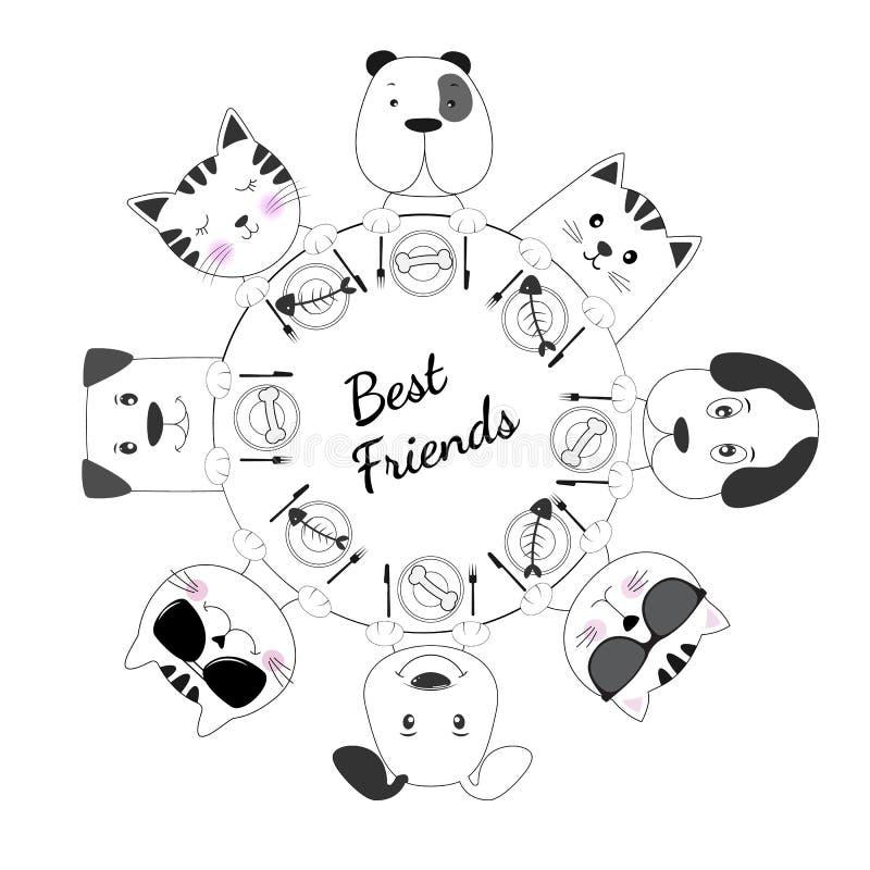Os gatos da cara e os melhores amigos dos cães têm o fundo branco do almoço junto ilustração stock