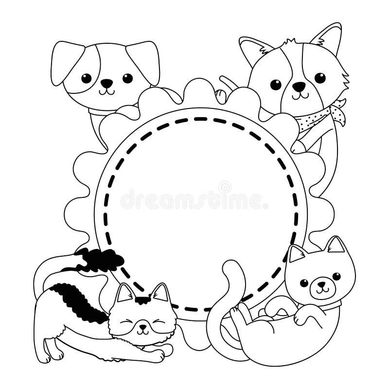 Os gatos e os desenhos animados dos cães projetam ilustração stock