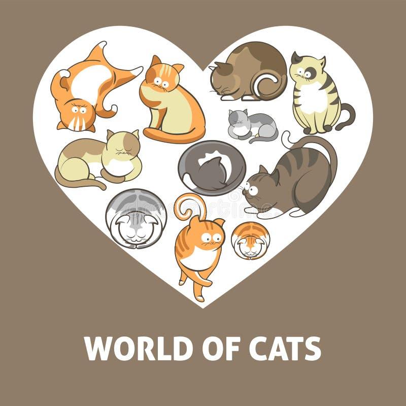 Os gatos e os gatinhos bonitos pets o jogo ou o levantamento do cartaz liso do coração do vetor ilustração stock