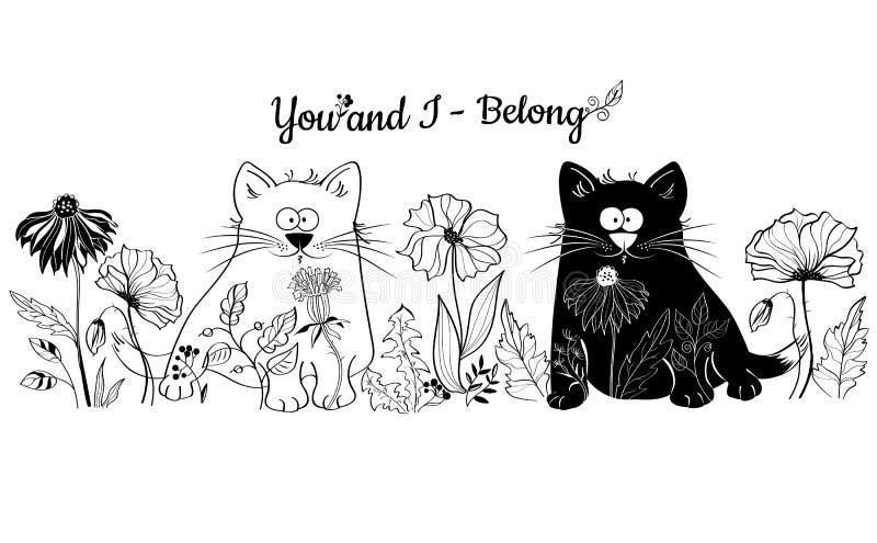 Os gatos preto e branco sentam-se nas flores ilustração royalty free