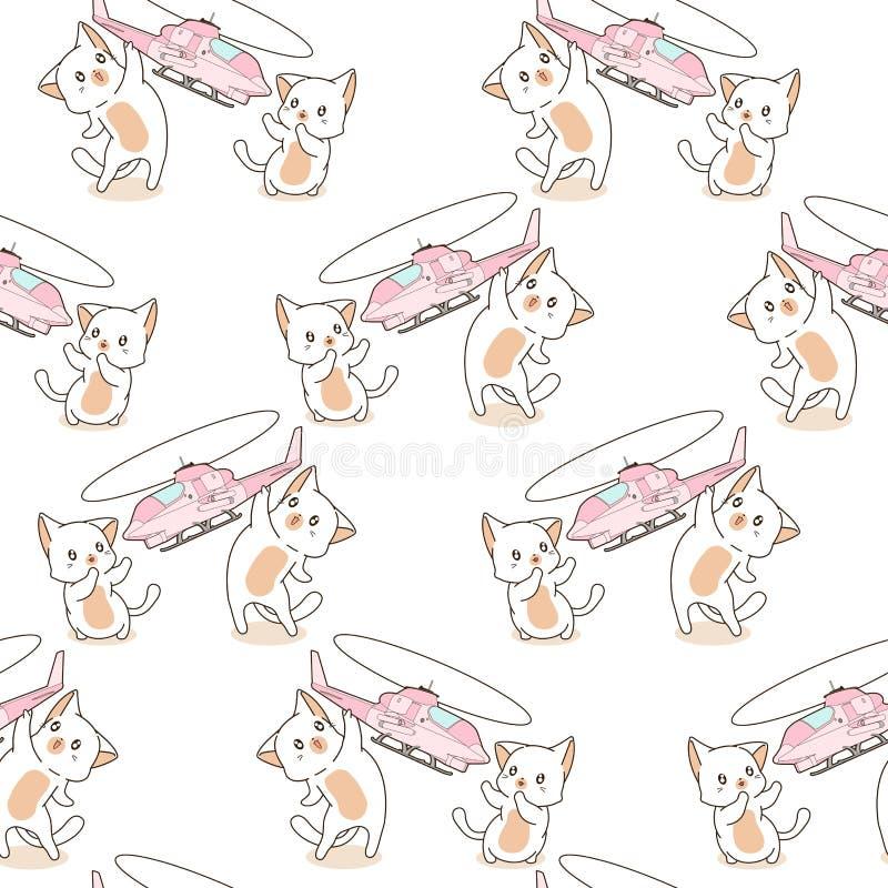 Os 2 gatos sem emenda do kawaii estão jogando o teste padrão do brinquedo do helicóptero ilustração stock