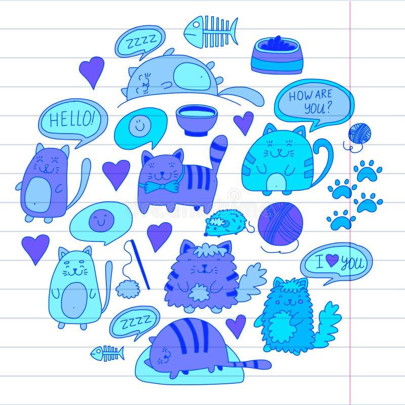 Os gatos vector os gatos japoneses dos desenhos animados do estilo do kawaii dos gatinhos bonitos domésticos do kawaii que jogam  ilustração do vetor
