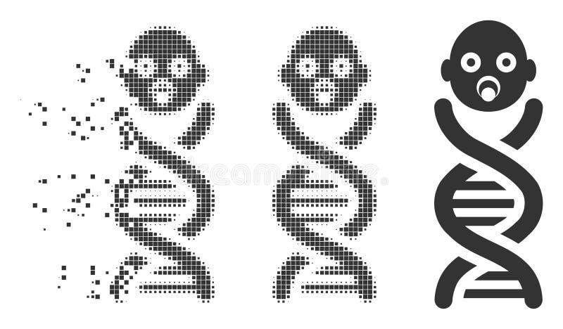 Os genes do bebê dissolveram o ícone da reticulação do pixel ilustração royalty free