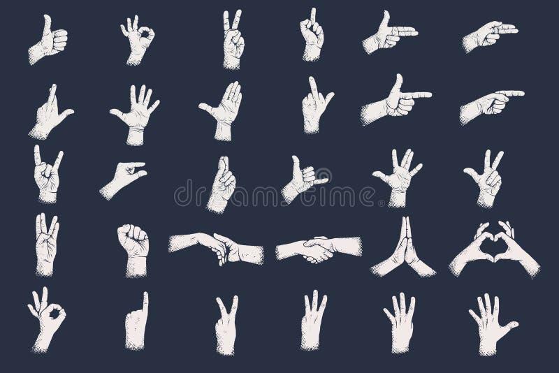 Os gestos de mão com grunge pontilham a textura da sombra Gestos de mão dos dígitos ilustração royalty free