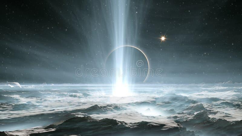 Os geysers enormes no Europa gelado da lua do Júpiter ilustração royalty free