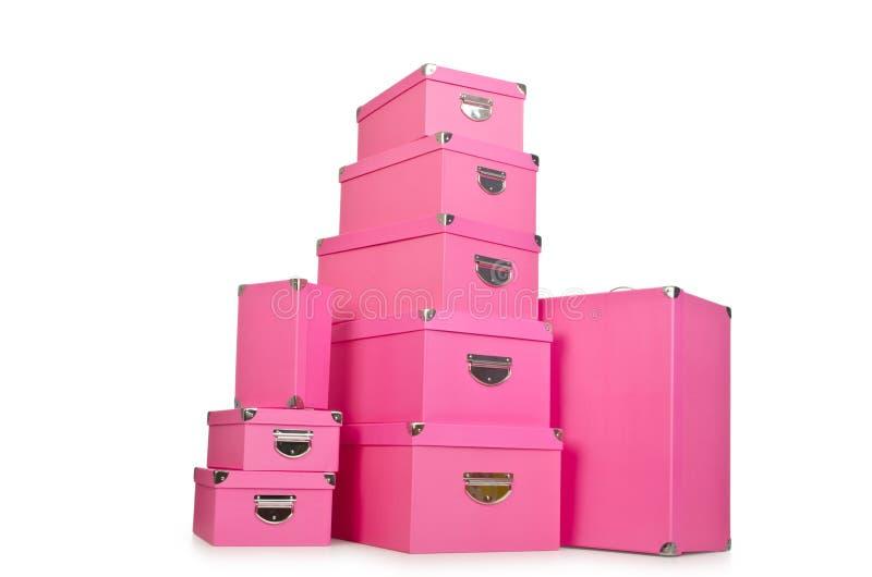 Os giftboxes cor-de-rosa isolados no branco imagens de stock royalty free