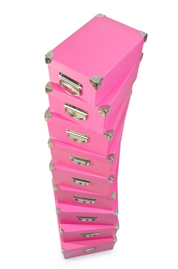 Os giftboxes cor-de-rosa isolados no branco foto de stock royalty free