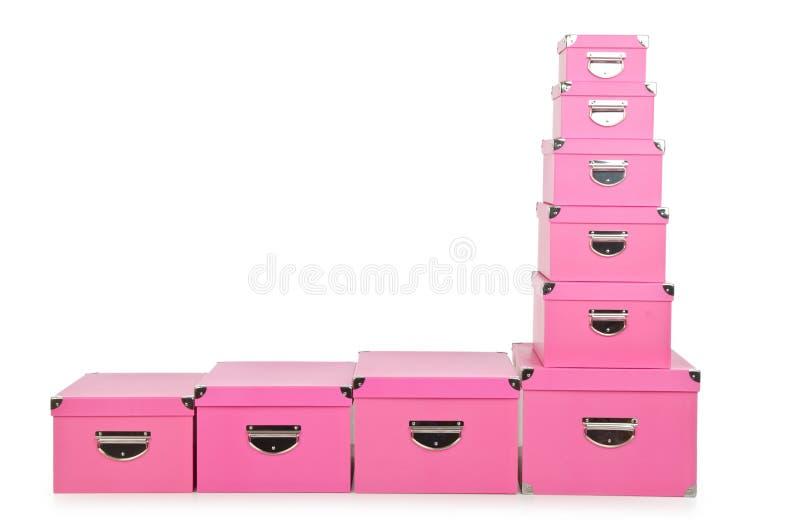 Os giftboxes cor-de-rosa no branco imagem de stock royalty free