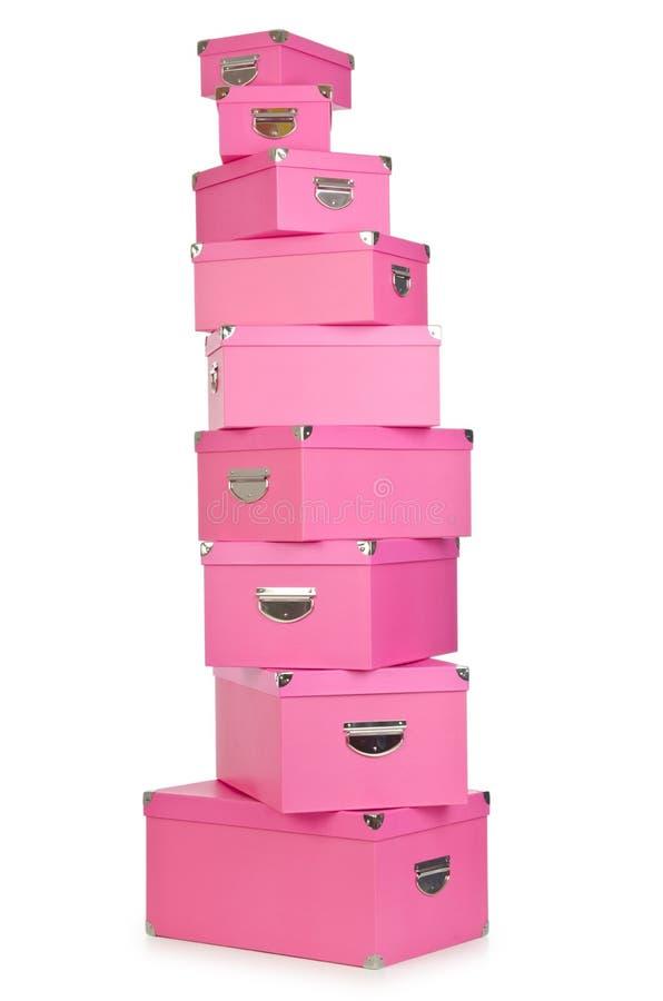 Os giftboxes cor-de-rosa no branco fotografia de stock