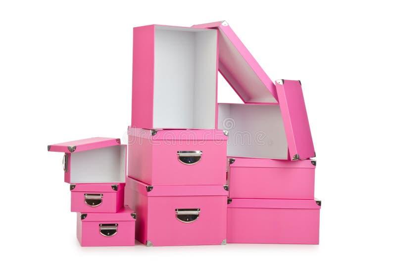 Os giftboxes cor-de-rosa no branco fotografia de stock royalty free