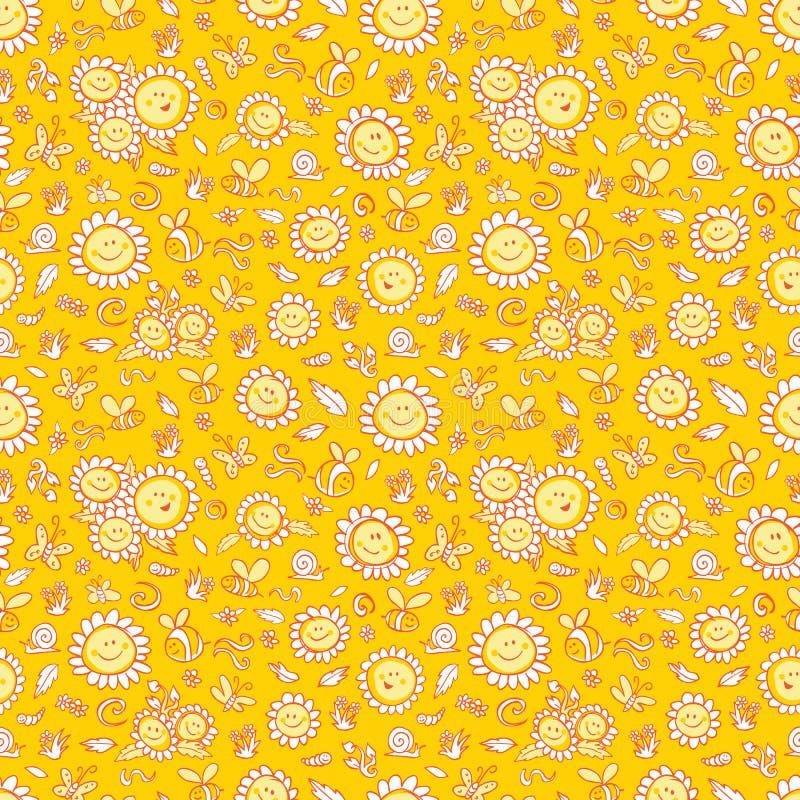 Os girassóis e as abelhas amarelos do vetor repetem a textura do teste padrão com esboços alaranjados Apropriado para o papel de  ilustração stock