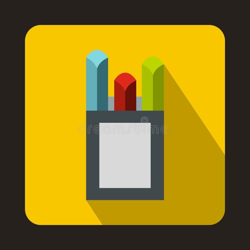 Os gizes coloridos na caixa encaixotam o ícone, estilo liso ilustração royalty free