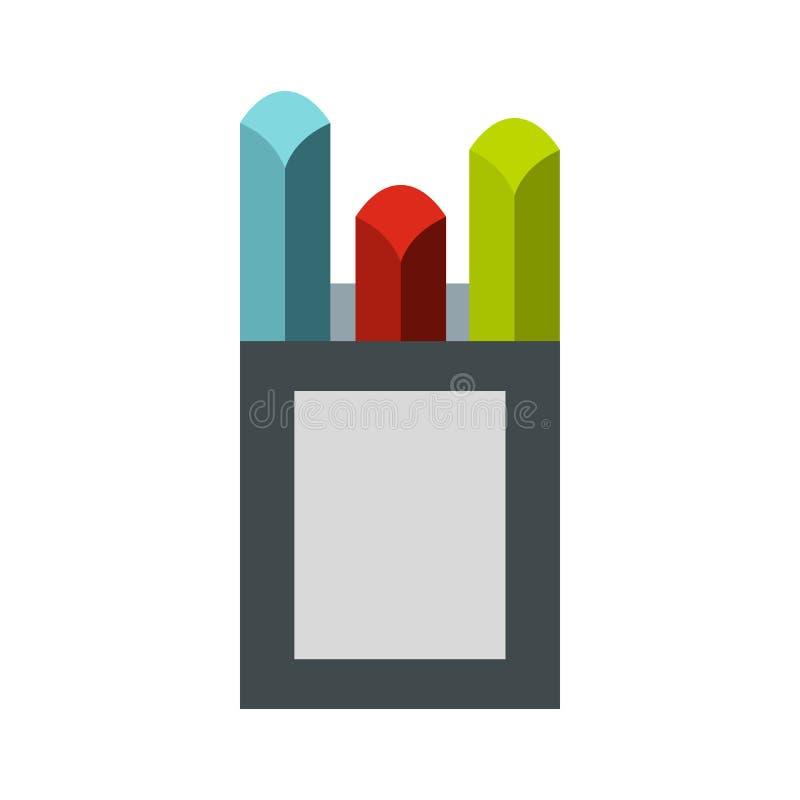 Os gizes coloridos na caixa encaixotam o ícone, estilo liso ilustração stock