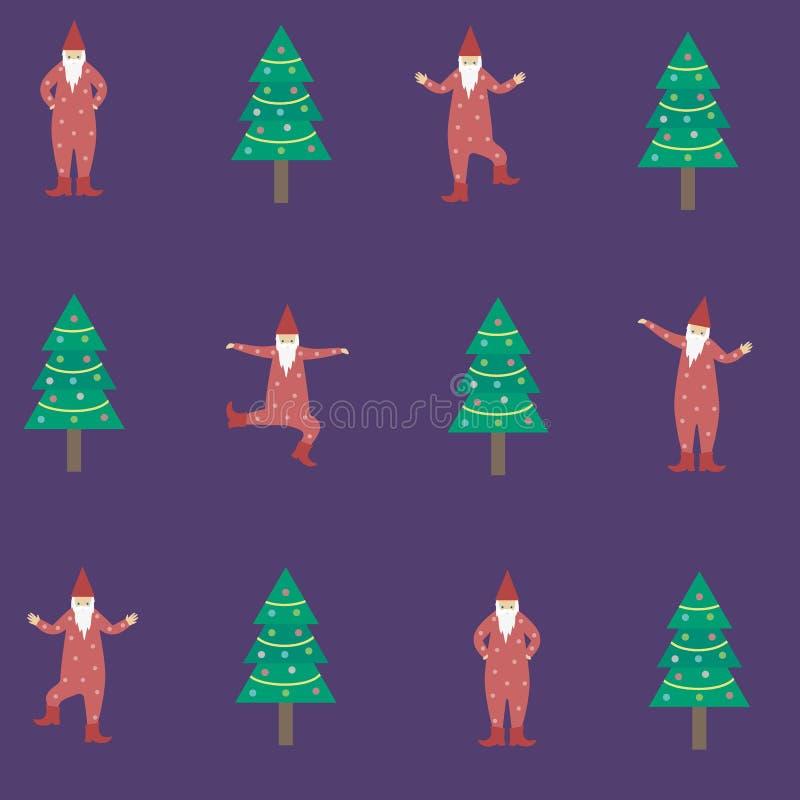 Os gnomos da dança aproximam a ilustração e o seamle da árvore de Natal ilustração royalty free