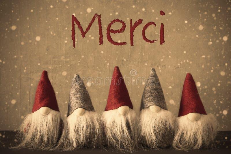 Os gnomos do Natal, flocos de neve, meios de Merci agradecem-lhe fotografia de stock