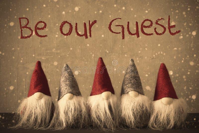 Os gnomos, flocos de neve, texto sejam nosso convidado imagem de stock