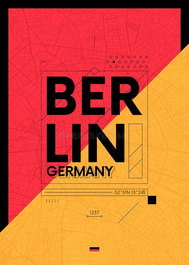 Os gráficos da tipografia colorem o cartaz com um mapa de Berlim, ilustração do curso do vetor ilustração do vetor