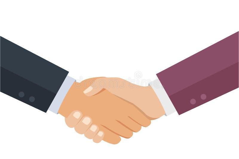 Os gráficos do aperto de mão, conceito da parceria isolaram-se ilustração stock