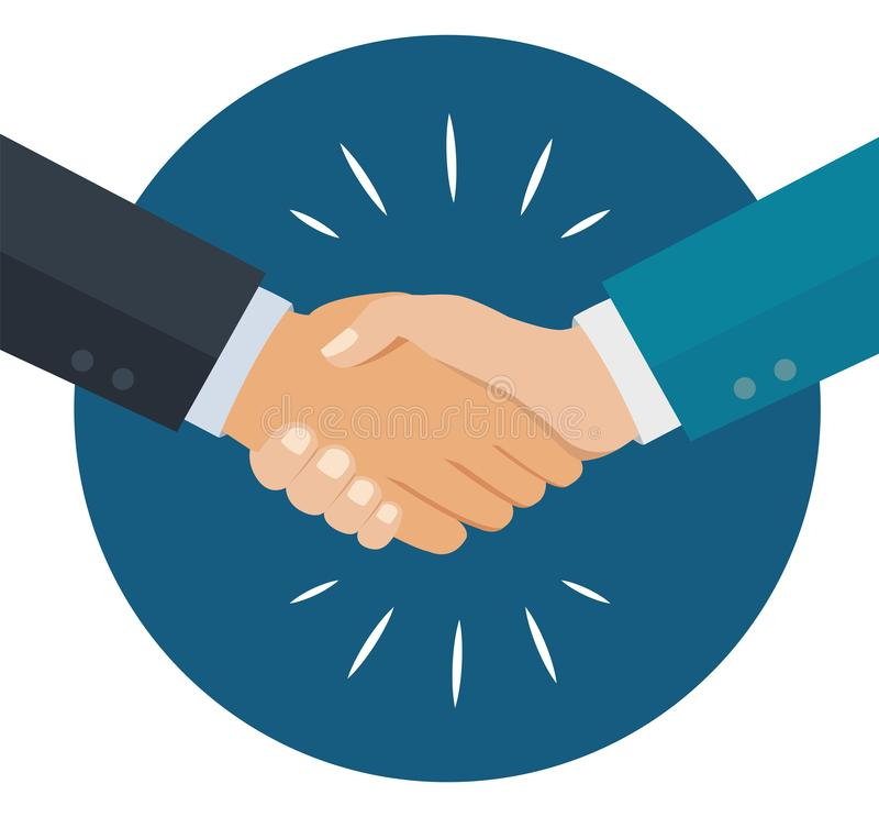Os gráficos do aperto de mão, conceito da parceria isolaram-se ilustração do vetor