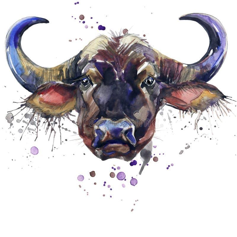 Os gráficos do t-shirt do búfalo, ilustração africana do búfalo dos animais com aquarela do respingo textured o fundo ilustração stock