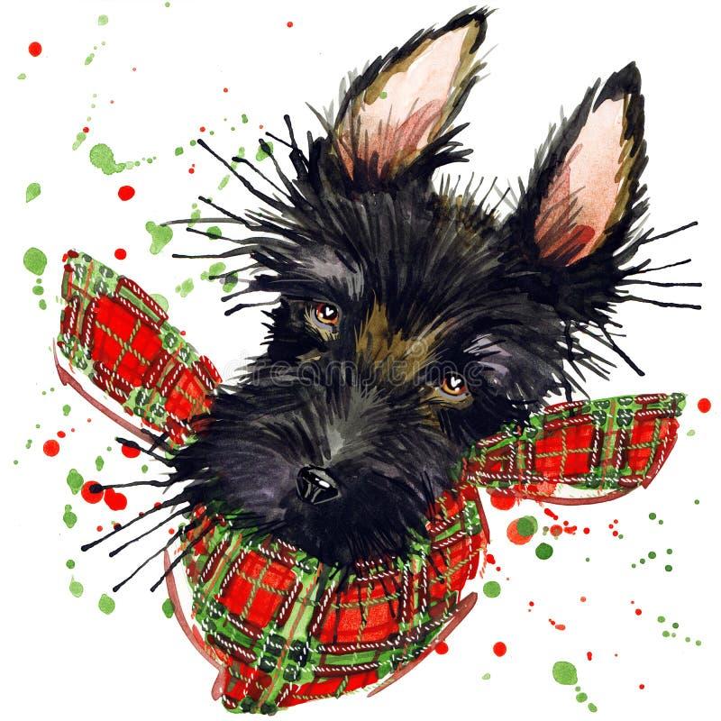 Os gráficos do t-shirt do cão do terrier escocês, ilustração do terrier escocês com aquarela do respingo textured o fundo ilustração do vetor