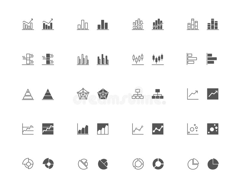 Os gráficos e a carta esboçam e encheram o grupo do ícone ilustração do vetor