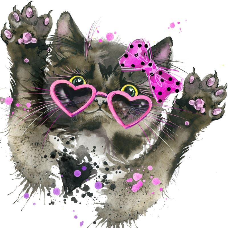 Os gráficos engraçados do t-shirt do gato preto, ilustração do gato preto com aquarela do respingo textured o fundo