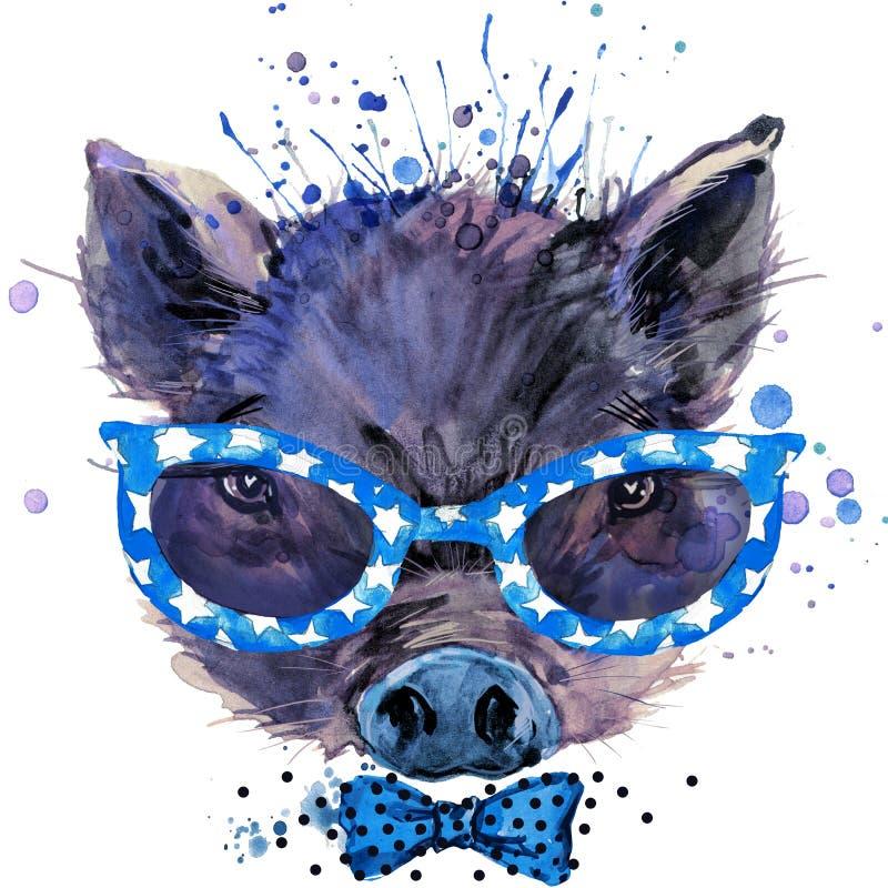 Os gráficos frescos do t-shirt do porco, ilustração do porco com aquarela do respingo textured o fundo ilustração stock