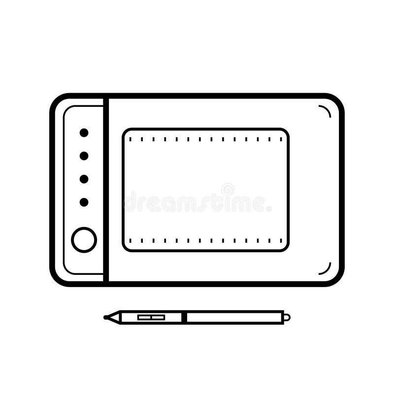 Os gráficos marcam com um estilete Ferramenta de desenho para a computação gráfica Ícones lisos, ilustrações Objeto no fundo bran ilustração royalty free