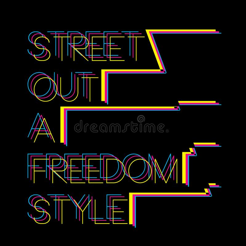 Os gráficos na moda à moda do t-shirt do preto do slogan imprimem ilustração do vetor
