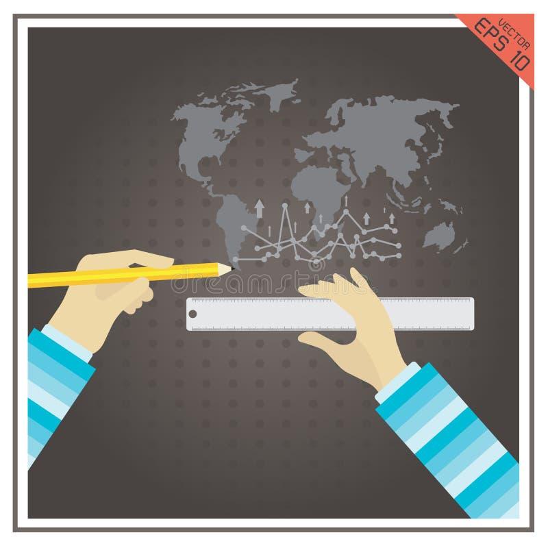 Os gráficos traçam o círculo do preto azul dos lápis das réguas do mundo ilustração royalty free