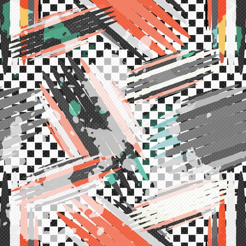 Os grafittis em um grunge branco do fundo texture o teste padrão sem emenda geométrico ilustração royalty free