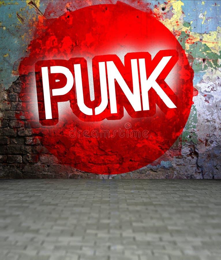 Os grafittis muram com punk, arte urbana ilustração royalty free