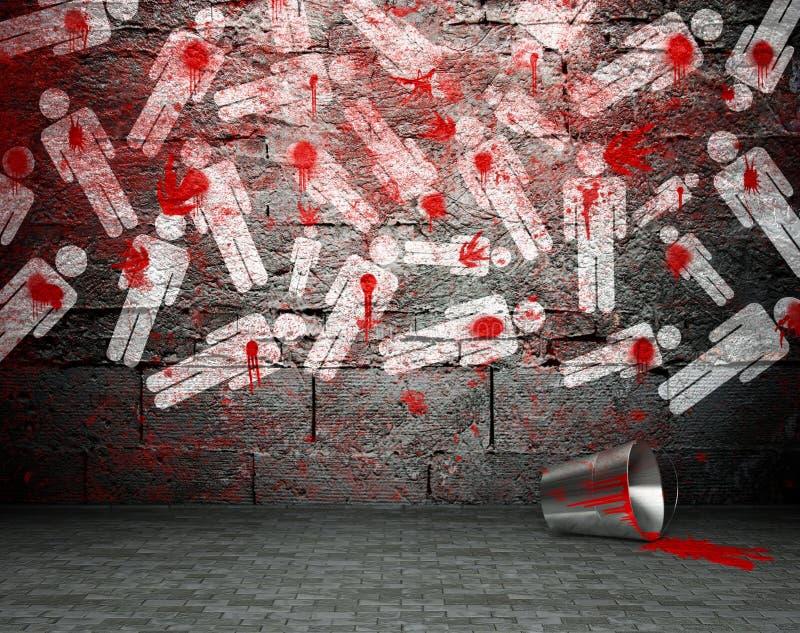 Os grafittis muram com símbolo da guerra, fundo da rua ilustração royalty free