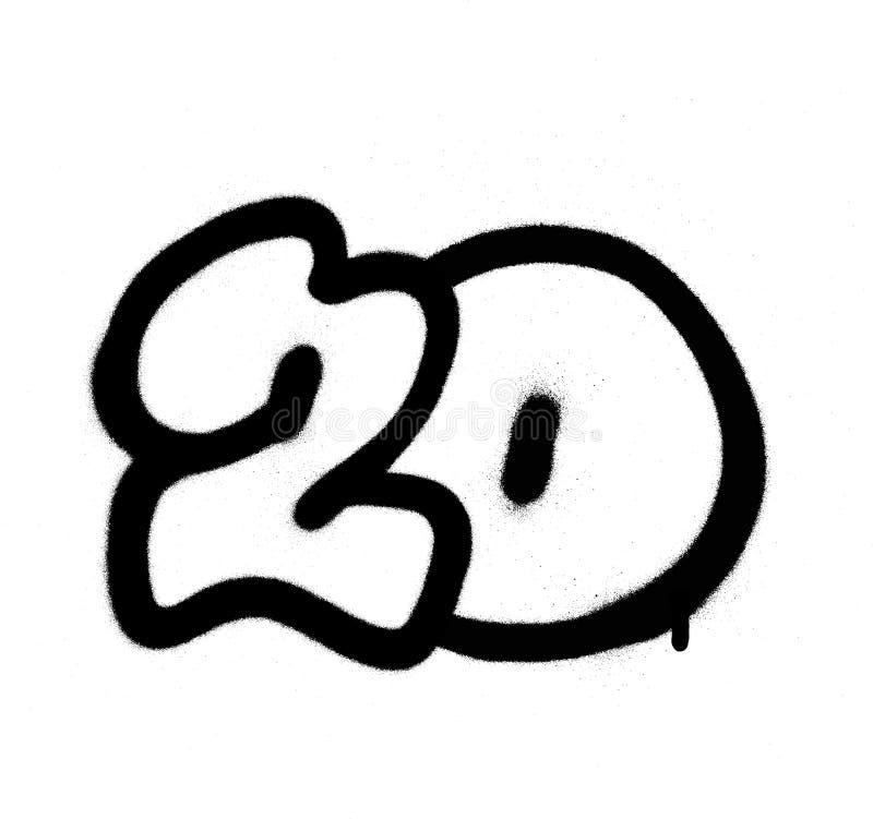 Os grafittis numeram 20 vinte pulverizados no preto sobre o branco ilustração royalty free