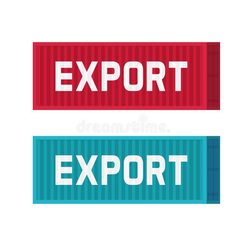 Os grandes contentores para a exportação vector caixas azuis ou vermelhas da carga industrial dos desenhos animados isolados, lis ilustração royalty free