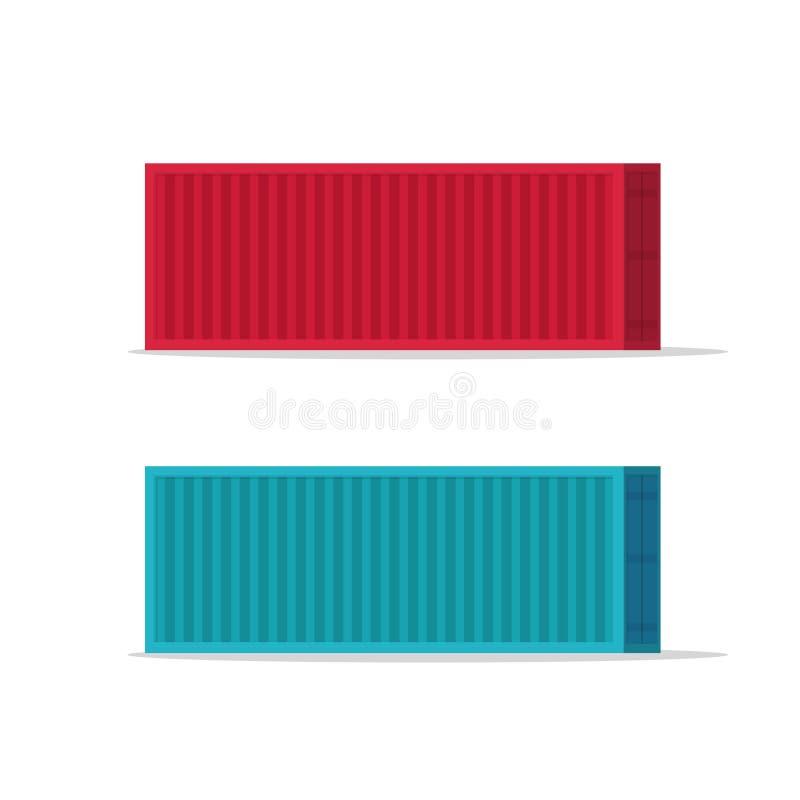 Os grandes contentores vector a ilustração isolada no fundo branco, no recipiente azul e vermelho dos desenhos animados lisos de  ilustração stock