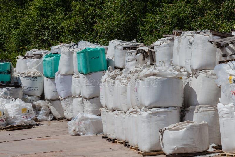 O nylon branco ensaca produtos químicos fotos de stock royalty free