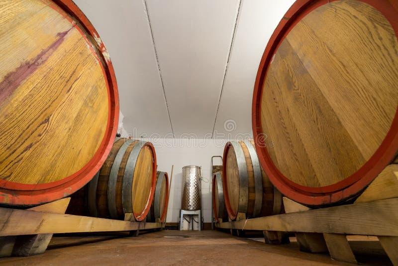 Os grandes tambores de vinho estão no porão no meio entre eles são um tanque pequeno - armazenamento e vendas imagem de stock royalty free
