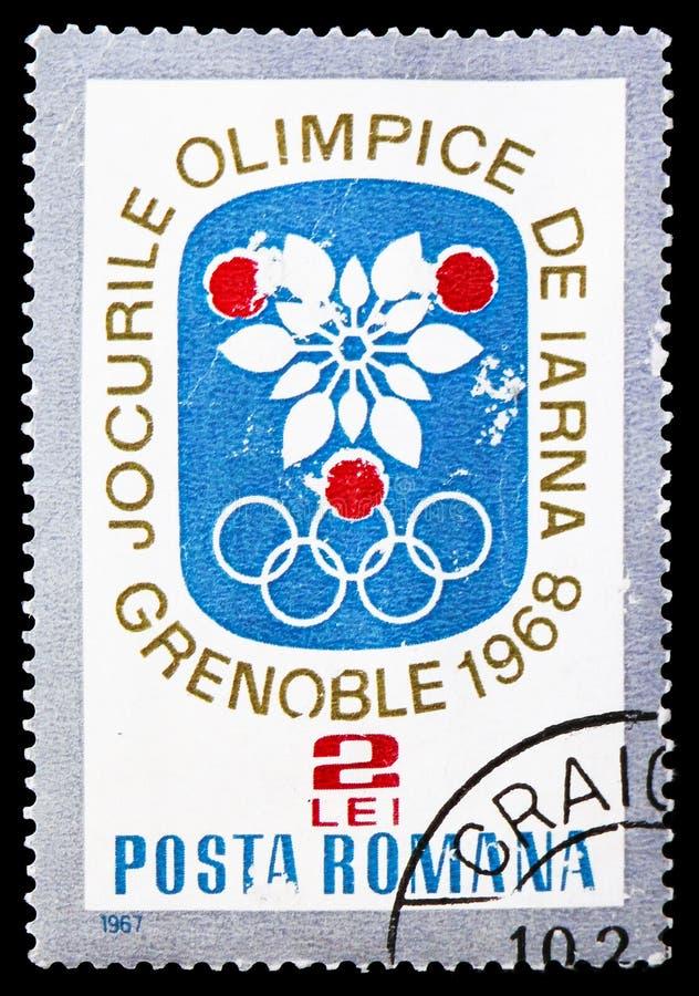 OS Grenoble, vinterolympiska spel 1968 - Grenoble serie, circa 1967 royaltyfri foto